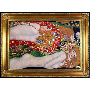 Water Serpents Metallic Embellished Artwork By Gustav Klimt With Regency Gold Frame - EK CHIC HOME