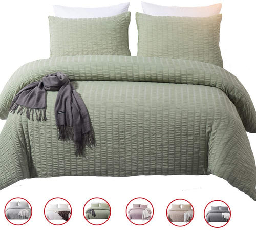 Solid King Duvet Cover Set Gray Washed Cotton Bedding Set 3 Pieces - EK CHIC HOME