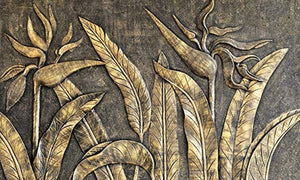 Murwall 3D Embossed Wallpaper Gold Sculpture Wall Mural Paradise - EK CHIC HOME