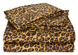 Queen Sheet Set - (60 x 80) 400 Thread Count Egyptian Cotton Leopard Print - EK CHIC HOME