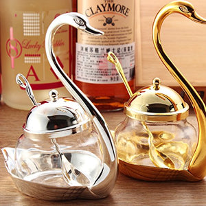 Sugar Bowl Coffee Swan with Serving Spoon, Golden - EK CHIC HOME