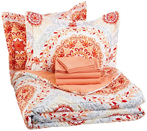 7-Piece Bed-In-A-Bag - Full/Queen, Coral Medallion - EK CHIC HOME