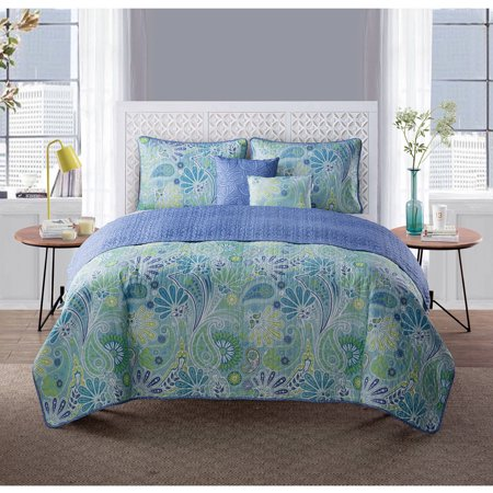 Harmony 5-Piece Reversible Paisley Bedding Quilt Set - EK CHIC HOME