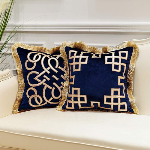 Pack of 2 Luxury Black Decorative Pillows with Tassels 20 x 20 - EK CHIC HOME