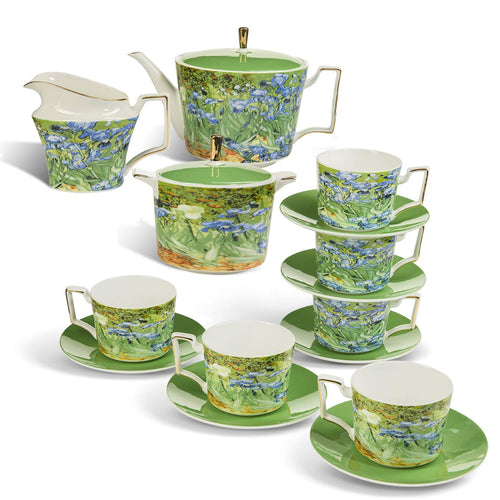 Tea Set Van Gogh Inspired - Real Bone China Tea Set by Gute (COMPLETE SET, 15 Pieces) - EK CHIC HOME