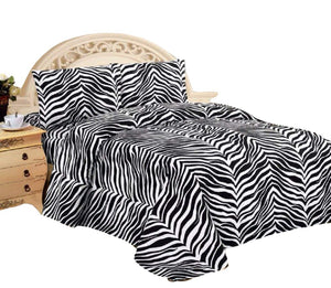 4 Piece Zebra Super Soft Executive Collection 1500 Series Bed Sheet Set - EK CHIC HOME