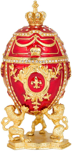 Hand Painted Enameled Elegant Purple Faberge Egg Style Decorative Hinged Jewelry Trinket Box - EK CHIC HOME