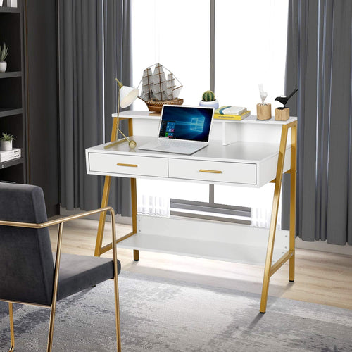 "Modern Writing Desk with Hutch - 39"" x 19"" Workstation - Home Office Furniture"