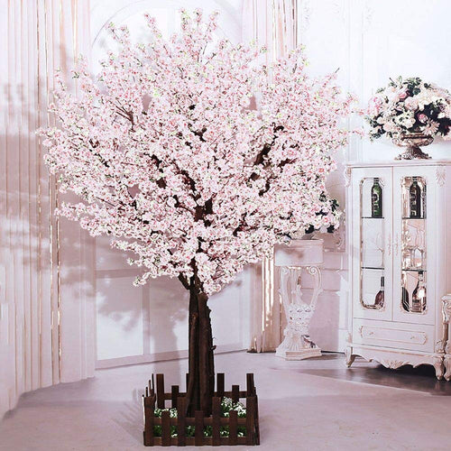 White Artificial Cherry Blossom Tree Indoor Outdoor Silk Flower - EK CHIC HOME