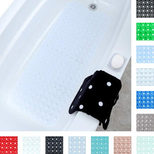 Red Extra Long Bath Mat Adds Non-Slip Traction to Tubs & Showers - EK CHIC HOME