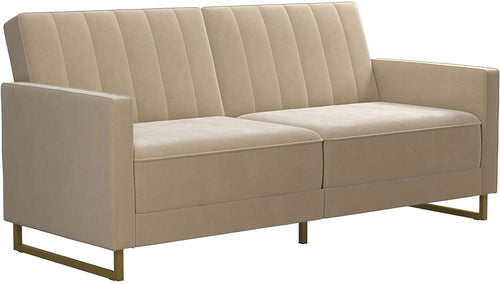 Modern Sofa Bed and Couch, Green Velvet Futon
