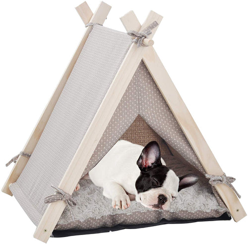 Portable Pet Canopy Teepee Indian Tent Bed for Little Dogs and Cats with a Soft Cushion - EK CHIC HOME