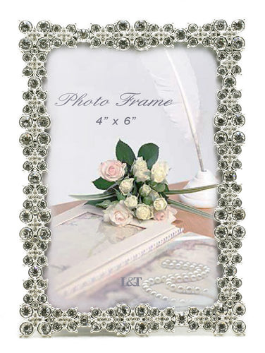 Luxury Metal Picture Frame Silver Plated with Brilliant Crystals 5x7 Inch - EK CHIC HOME