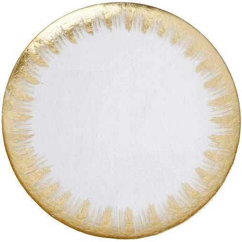 Glass Chargers for Dinner Plates - with Gold Rim - Set of 4