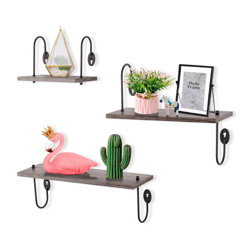 Floating Shelves Wall Mounted Set of 3 - Rustic Wall Shelves- Weathered Grey - EK CHIC HOME