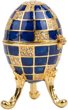Load image into Gallery viewer, Hand Painted Enameled Small Faberge Egg Style Decorative Hinged Jewelry Trinket Box - EK CHIC HOME