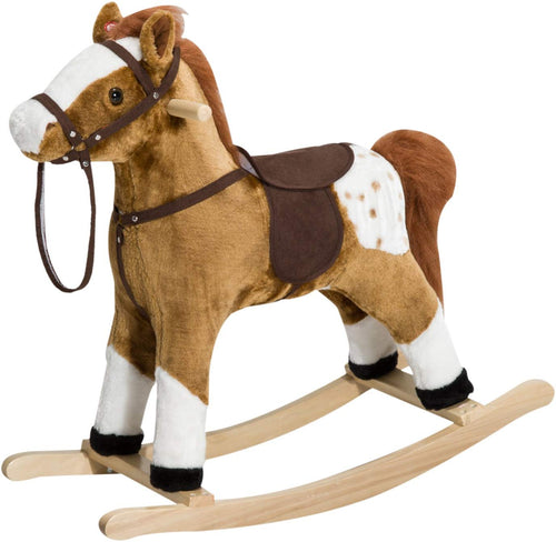 Kids Plush Toy Rocking Horse Pony with Realistic Sounds - Pink - EK CHIC HOME