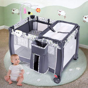 Baby Playard, Convertible Playpen with Bassinet, Changing Table, Foldable Travel Bassinet Bed with Music Box - EK CHIC HOME