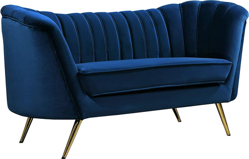 Velvet Upholstered Loveseat with Deep Channel Tufting and Rich Gold Stainless Steel Legs