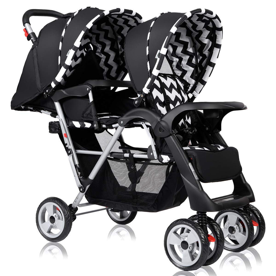 Double Stroller, Twin Tandem Baby Stroller with Adjustable Backrest - EK CHIC HOME