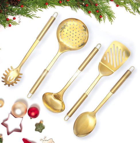 Gold/Brass Cooking Utensils for Modern Cooking and Serving - EK CHIC HOME