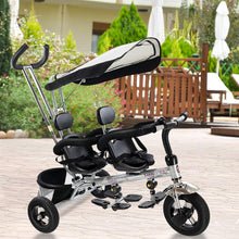 Load image into Gallery viewer, 4 in 1 Twins Kids Trike Baby Toddler Tricycle Safety Double Rotatable Seat w/Basket - EK CHIC HOME