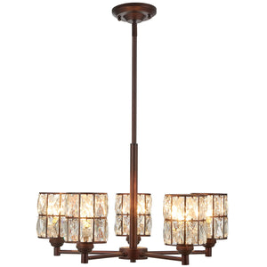 5 Light Crystal Chandelier Lighting with Brown Finish,Modern and Concise Style Ceiling Light Fixture - EK CHIC HOME