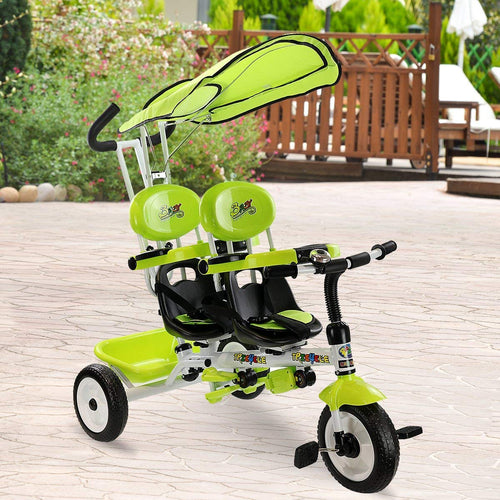 4 in 1 Twins Kids Trike Baby Toddler Tricycle Safety Double Rotatable Seat w/Basket - EK CHIC HOME