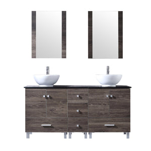 "60"" Double Wood Bathroom Vanity Cabinet and Ceramic Vessel Sink w/Mirror Combo Faucet - EK CHIC HOME"