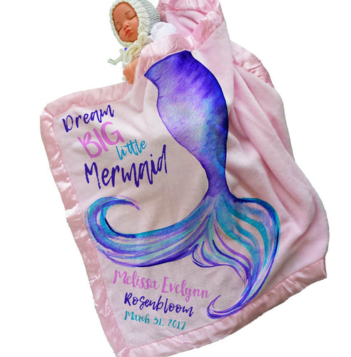 Personalized Mermaid Tail Baby Blanket (30x40, Pink) Satin Trim - EK CHIC HOME