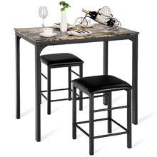 Load image into Gallery viewer, 3 PCS Counter Height Dining Set Faux Marble Table 2 Chairs Kitchen Bar Furniture - EK CHIC HOME