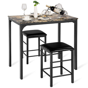 3 PCS Counter Height Dining Set Faux Marble Table 2 Chairs Kitchen Bar Furniture - EK CHIC HOME