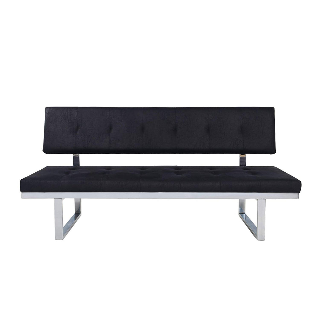 LIZ Contemporary Sofa Bench, Upholstered, Tufted, Microfiber and Iron, Slate and Chrome - EK CHIC HOME