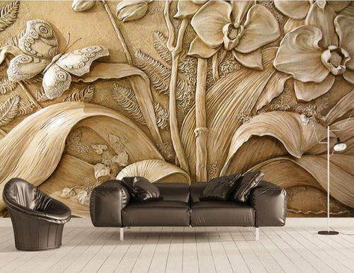 Wall Mural 3D Wallpaper Embossed Minimalist Orchid Butterfly Wall Decoration Art 350cm×256cm - EK CHIC HOME