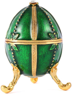 Hand Painted Enameled Small Faberge Egg Style Decorative Hinged Jewelry Trinket Box - EK CHIC HOME