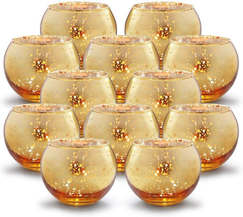 Round Gold Votive Candle Holders - Mercury Glass Tealight Set of 12 - EK CHIC HOME