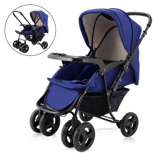 Two Way Stroller, Baby Foldable Conversable Pushchair w/ 5- Point Safety Harness, Sleeping Cushion, Storage Basket, Free Standing - EK CHIC HOME