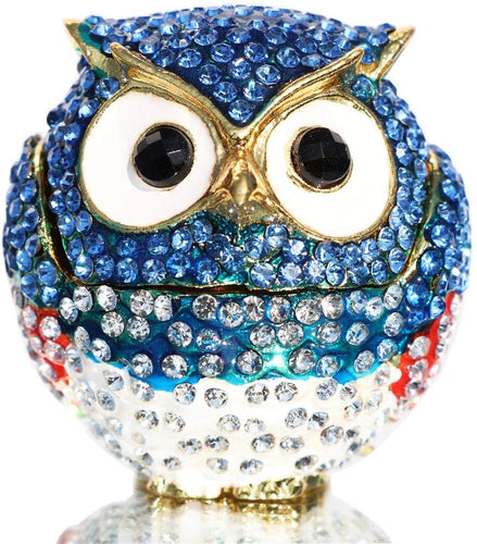 Diamond Light Blue Owl Hinged Hand-Painted Figurine Collectible Ring Holder - EK CHIC HOME
