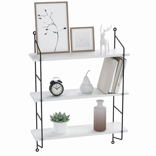 3-Tier Industrial Floating Shelves Wall Mounted Wall Shelf Rack(White) - EK CHIC HOME