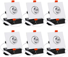 Load image into Gallery viewer, 6-Pack 3 Inch LED Square Dimmable Recessed Light with J-Box - EK CHIC HOME