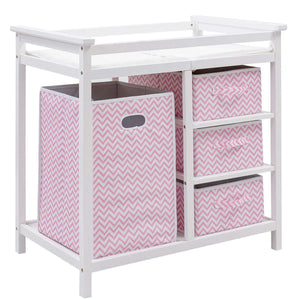 Baby Changing Table, Diaper Storage Nursery Station with Hamper and 3 Baskets - EK CHIC HOME