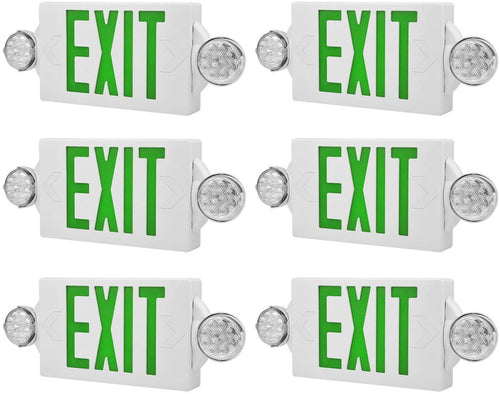 LED Emergency Light & Exit Sign Combo,(Green, 6 Pack) - EK CHIC HOME