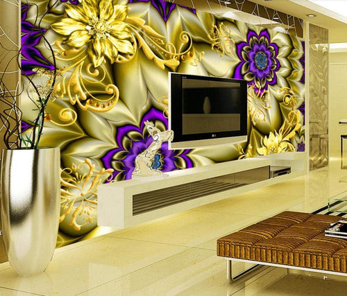 Wall Mural 3D Wallpaper Golden Pattern, Jewel, Purple FlowerWall Decoration Art - EK CHIC HOME