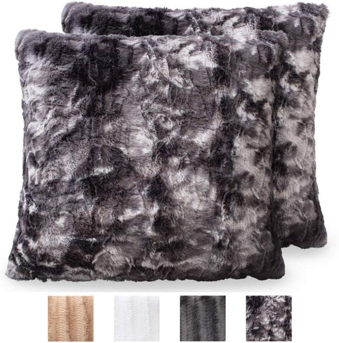 Faux Fur Pillowcases, Set of 2 Decorative Case Sets-18x18 - EK CHIC HOME