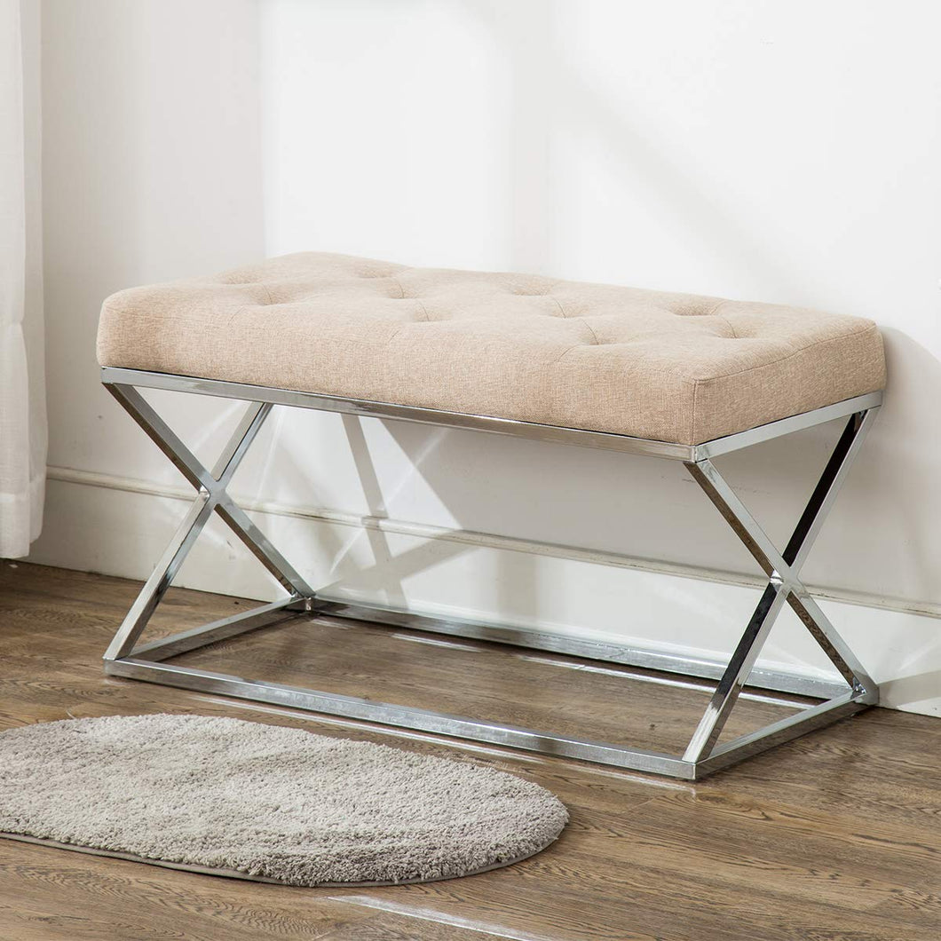 Upholstered Ottoman Bench X Metal Entryway Bench with Tufted Design - EK CHIC HOME