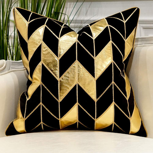 Navy Blue Gold Striped Cushion Cases Luxury European Throw Pillow Covers - EK CHIC HOME