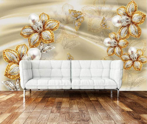 Wall Mural 3D Wallpaper Golden Modern Jewel Flower Silk Wall Decoration Art - EK CHIC HOME
