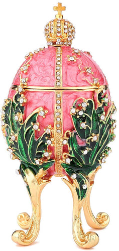 Hand Painted Enameled Faberge Egg Style Decorative Hinged Jewelry Trinket Box - EK CHIC HOME