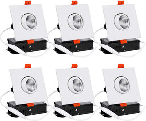 6-Pack 3 Inch LED Square Dimmable Recessed Light with J-Box - EK CHIC HOME