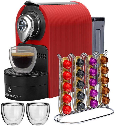 Espresso Machine - Programmable One-Touch - Red - EK CHIC HOME